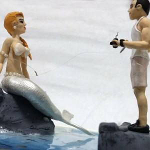 Pescador e Sereia de Biscuit em Santos